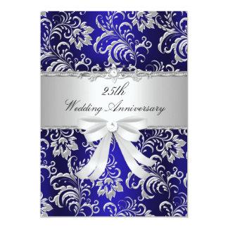 """Florales azules y arquean el 25to aniversario de invitación 5"""" x 7"""""""