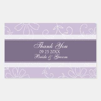 Florales blancos púrpuras le agradecen las rectangular pegatinas