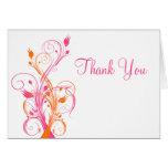 Florales blancos rosados anaranjados le agradecen  tarjeta