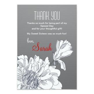 """Florales blancos y negros le agradecen cardar invitación 3.5"""" x 5"""""""