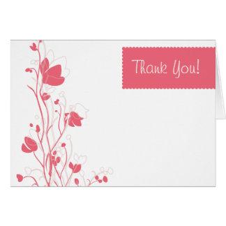 Florales delicados le agradecen en coral tarjeta pequeña