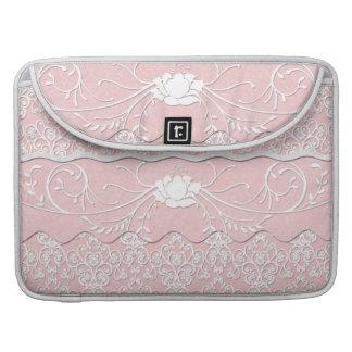 Florales femeninos palidecen - el damasco rosado y funda para macbooks