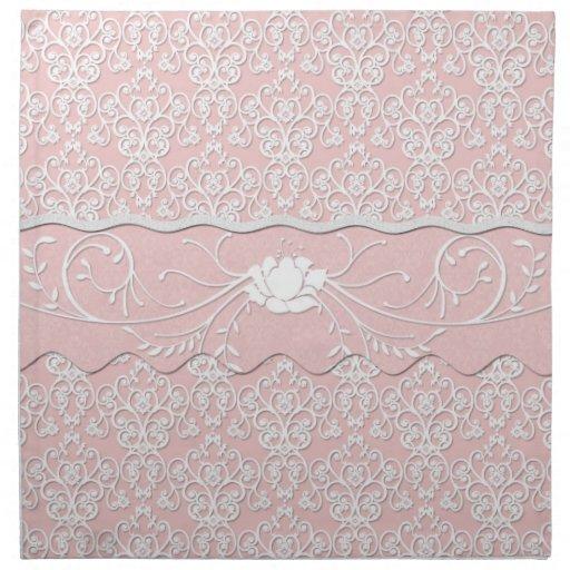 Florales femeninos palidecen - el damasco rosado y servilletas imprimidas