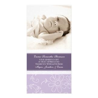 Florales púrpuras le agradecen las tarjetas de la  tarjeta fotográfica personalizada