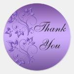 Florales púrpuras y negros le agradecen pegatina
