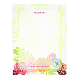 Florales retros, eligen su color de fondo del fav membrete personalizado