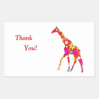 Florales retros enrrollados de la jirafa agradecen rectangular altavoz