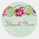 Florales rosados le agradecen los pegatinas pegatinas redondas