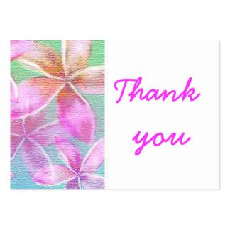 florales rosados le agradecen tarjetas de visita grandes