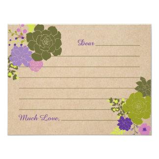 Florales suculentos elegantes rústicos aconsejan invitación 10,8 x 13,9 cm