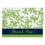 Florales verdes y azules le agradecen tarjetas