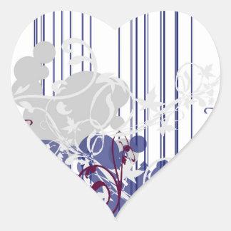 Floralia elegante pegatina en forma de corazón