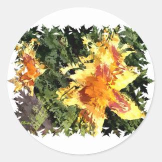 Florals 002 classic round sticker
