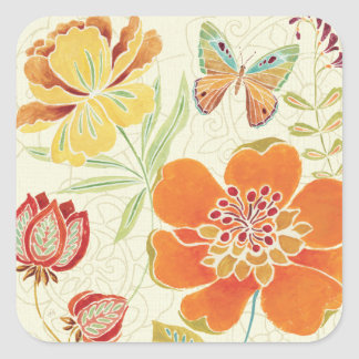 Florals and Butterflies Square Sticker
