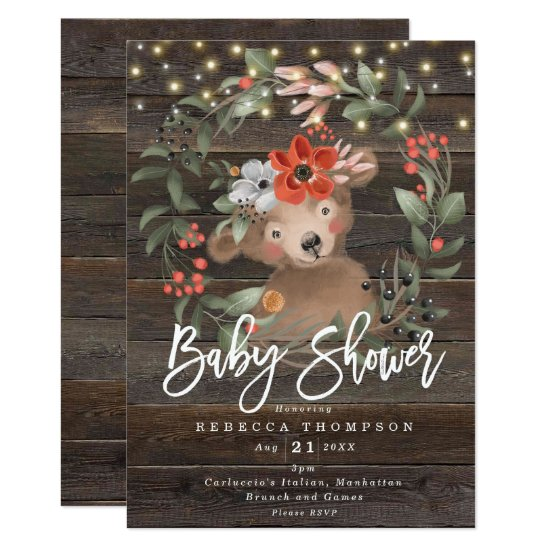 florals and cute bear boho modern baby shower invitation
