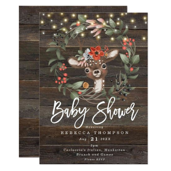 florals and cute deer boho modern baby shower invitation