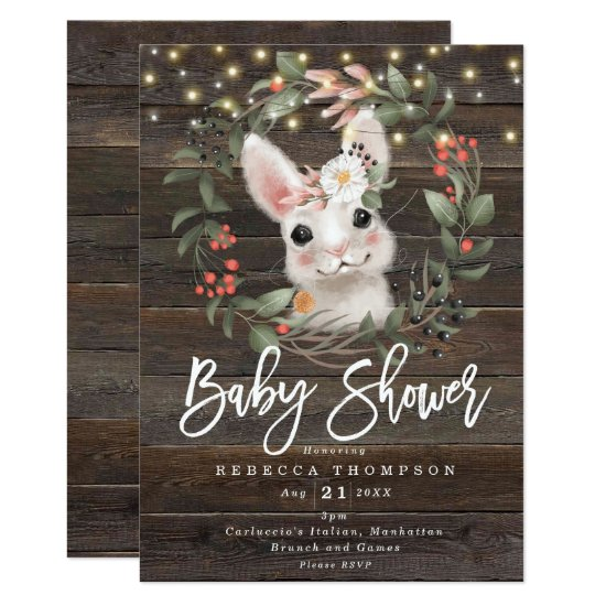 florals and cute rabbit modern baby shower invitation