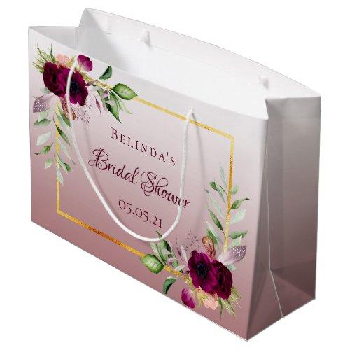 Florals burgundy cinnamon rose bridal shower large gift bag