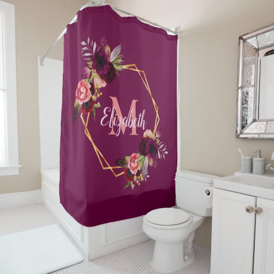 Florals gold geometric burgundy monogram shower curtain