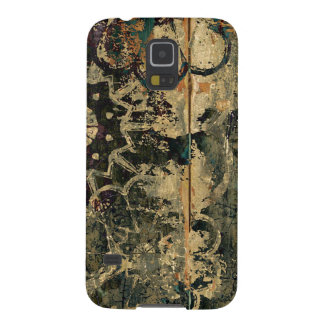 Florals on wood with splotched paint. galaxy s5 covers