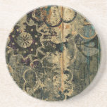 Florals on wood with splotched paint. beverage coaster