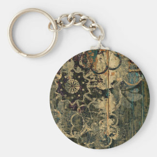 Florals on wood with splotched paint. basic round button keychain