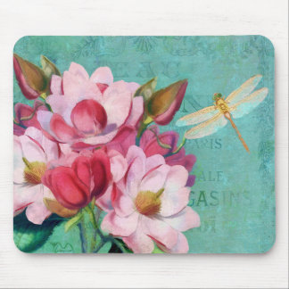 Florals, Pink Magnolias dragonfly mousepad Mouse Pad
