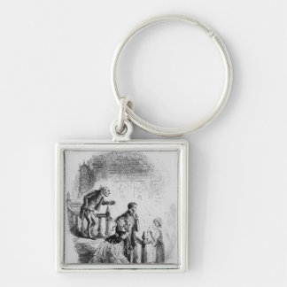 Flora's tour of inspection Silver-Colored square keychain