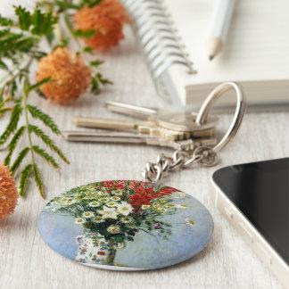 florece el florero del monet llavero redondo tipo pin