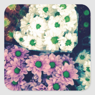 Florece fleurs del цветы de Flores Blumen Pegatina Cuadrada