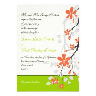 Florece la invitación anaranjada del boda de la ve
