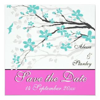 Florece la turquesa, reserva del boda de las rosas comunicados personalizados