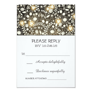 Florece las tarjetas rústicas de RSVP del marrón Anuncios