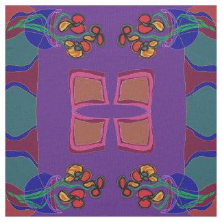 Florece /orange verde púrpura /yellow >Fabric Telas