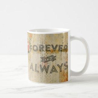 Florece para siempre y siempre el vintage taza de café