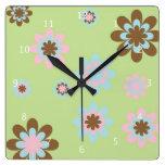 Florece retro enrrollado floral, verde del rosa, m reloj