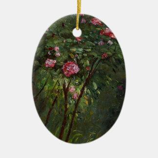 florece rosa del arbusto color de rosa de Gustave Adorno Ovalado De Cerámica