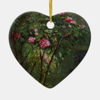 florece rosa del arbusto color de rosa de Gustave Adorno De Cerámica En Forma De Corazón