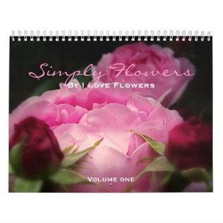 Florece simplemente calendarios de pared