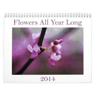 Florece todo el del año calendario 2014 de largo
