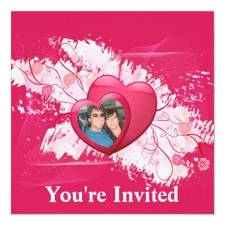"""Floreciendo dos corazones como uno añaden su foto invitación 5.25"""" x 5.25"""""""
