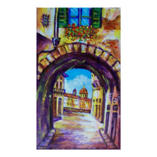 FLORENCE ANTIQUE ALLEY VIEW CHURCH CESTELLO POSTER