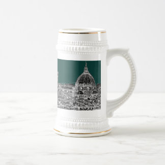 Florence architecture drawing 18 oz beer stein