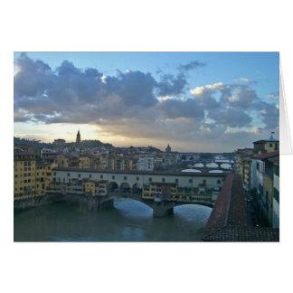 Florence - Arno Sunset Greeting Card