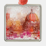 Florence - Basilica of Saint Mary of the Flower Square Metal Christmas Ornament