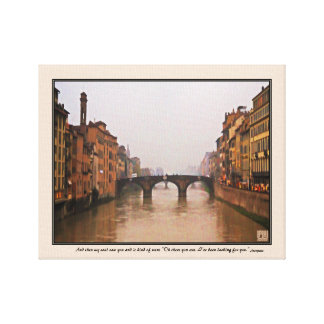 Florence Bridge With Love Quote Canvas Print