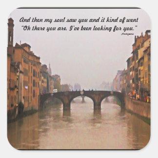 Florence Bridge With Love Quote Square Sticker