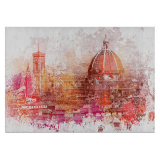 Florence cathedral Italy  watercolor design red Cutting Board