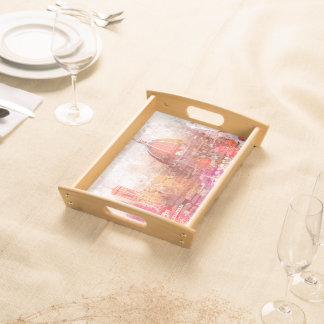 Florence cathedral Italy watercolor design red Service Trays