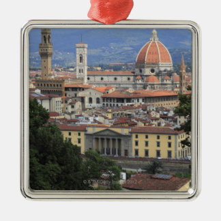 Florence Cityscape Square Metal Christmas Ornament